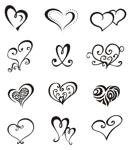 music heart tattoos